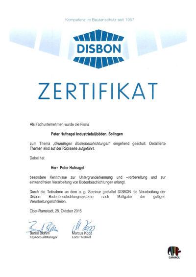 disbon zertifikat peter hufnagel bodenbeschichtung